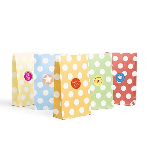 Plantvibes 24 Geschenktüten bunt und dekorativ gepunktet, Partytüten ideal für die Geburtstagsfeier, Papiertüten für den Kinder-Geburtstag, Verpackung