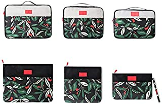Black Flower Pattern Packing Cubes 6pcs Travel Carry On Luggage Organizers Set with Shoes Bag
