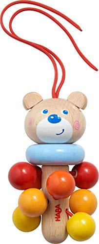 HABA 305231 - Hängefigur Bär, Babyspielzeug für Babyschale, Spieltrainer, Kinderbett und Kinderwagen, Holzspielzeug ab 6 Monaten
