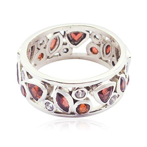 glücklicher Edelstein fantastischer facettierter Granatring - 925 Silber roter GranatEdelsteinring - Verzierungen glitter Schmuck das meiste Verkäufergeschenk für gute Ringe des Valentinstags