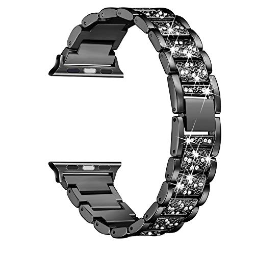 Secbolt Bling Bands Compatible with Apple Watch Band 38mm 40mm iWatch Series 5/4/3/2/1, Dressy Jewelry Metal Bracelet Adjustable Wristband, Black
