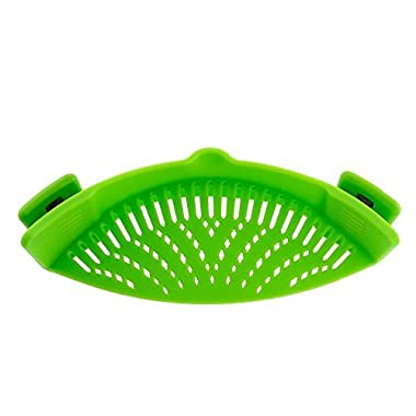 Oumeiou Clip On Silicone Strainer,Snap Strainer for Draining Liquid Universal Size Fits Almost Pans Pots Bowls (Green)