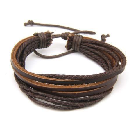 BO LAI DE Moda Multicapa Casual Envoltura Hecha a Mano Cuerda Vintage Negro marrón Cuero Hombres Pulseras para Mujeres Hombres joyería Femenina,q