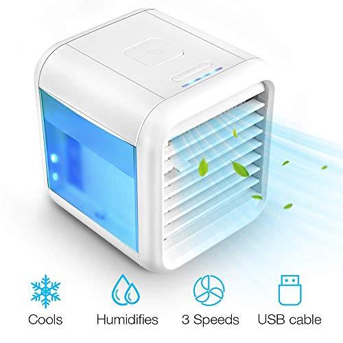 Aire Acondicionado móvi portátil Ventilador Pequeño, Air Cooler Enfriador de Air Personal y portátil, 7 Luces LED, para el hogar/Oficina/habitación