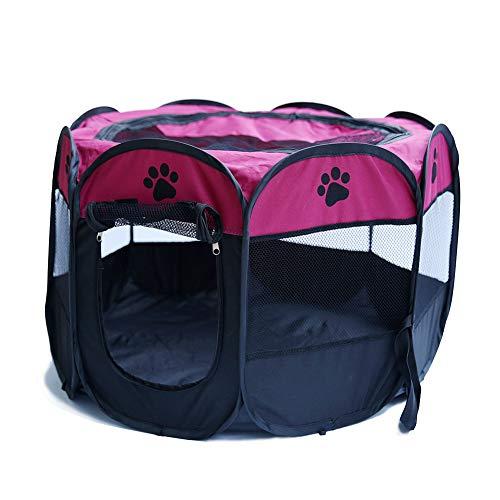 GuangLiu Parque para Perros Parque Mascotas Bolígrafos de Cachorro para Interiores Grandes Gato corralito Parque para Perros Interior de Conejo Rose&Red