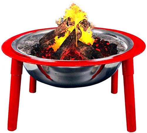 N / A Large Fire Pit, Stainless Steel Brazier Heater, Multifunctional Camping Bowl BBQ, For Indoor Outdoor Garden Patio Grill Wood Charcoal