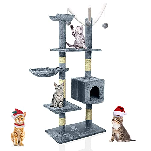 Agomition 135cm Kratzbaum, Stabiler Kletterbaum, Katzenkratzbaum, Katzenbaum, Mehreren Ebenen Katzen Kratzbaum für Innen Katzen