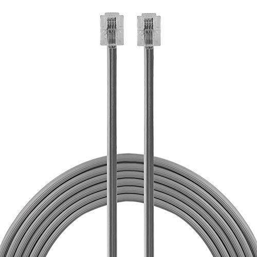 Power Gear Telephone Line Cord, 15 Feet, Phone Cord, Modular Jack Ends, Works for Phone, Modem or Fax Machine, for Use in Home or Office, Satin, 30056