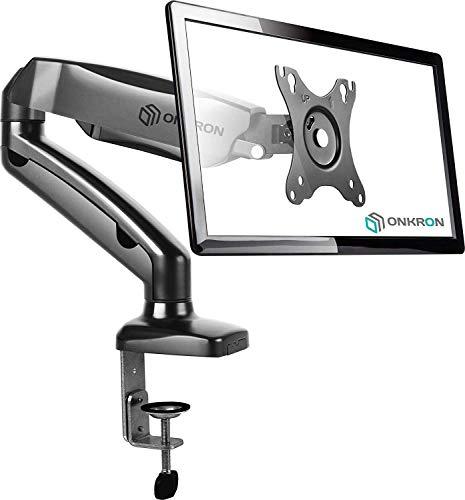 ONKRON Supporto monitor da scrivania per schermi 13-27 pollici VESA compatibile max 100 x 100 mm LCD LED girevole con molla a gas per ufficio casa