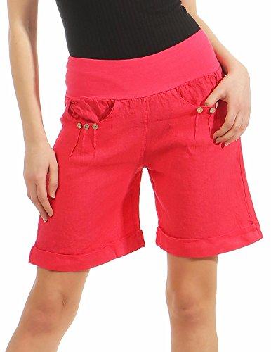 Malito Damen Bermuda aus Leinen | lässige Kurze Hose | Shorts für den Strand | Pants - Hotpants 6822 (XL, pink)