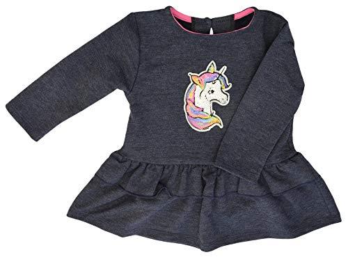 KAREN baby meisjesjurk kleding eenhoorn pailletten lange mouwen marineblauw grijs jeans
