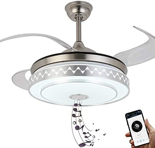 NUTCRUST Retractable Invisible Ceiling Fan with Light and Bluetooth Speaker 7 Colors Change product image