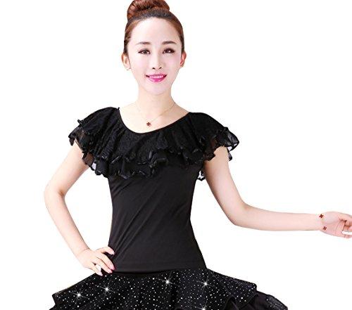 LNIGHT レディース ダンス用トップス フリルネックライン 上着 ブラウス 女性 ラテンダンス 社交ダンス 練習 競技ダンスウェア ステージ舞台 ダンス衣装(ブラック,XL)