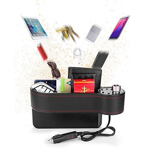 Car Seat Gap Filler, Console zijvak Volledige Premium PU lederen auto Seat-opslag, draadloos opladen Storage Box, organisator met 2 USB-poorten opladen