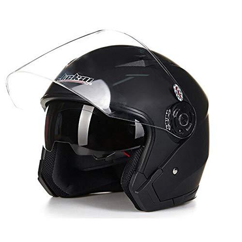 Dgtyui Casco da moto doppio obiettivo universale 3/4 mezzo casco auto casco elettrico quattro stagioni protezione solare e protezione UV - Nero lucido XL
