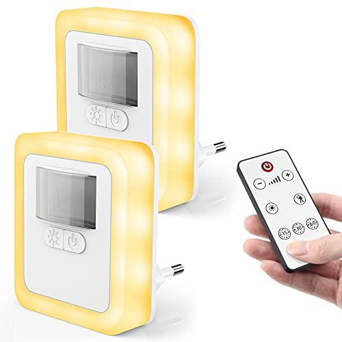 LED Nachtlicht Steckdose mit Bewegungsmelder, Dimmbares Energiesparend Baby Licht mit Fernbedienung, Automatisch Orientierungslicht, Zeitgesteuert, Nachtlampe für Kinderzimmer, Schlafzimmer, Gang