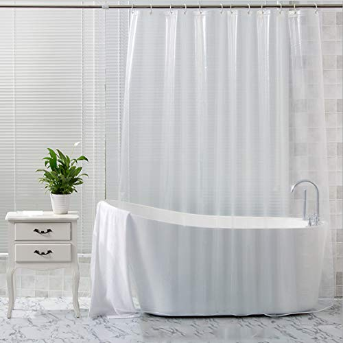 Tonnali Extra Long Clear Shower Curtain Liner 72 x 75 inch, Plastic Weighted Shower Curtain Liner with Heavy Duty 3 Weighted Magnets, Transparent, 100% Waterproof