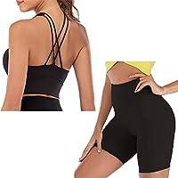DECETAZY ヨガ スーツ 吸汗速乾 裸の感触ヨガセット女性のための女性フィットネススーツのためのヨガの服のためのフィットネススーツハイウエストレギンス+スポーツブラセットジム服 高弾性 (Color : Black set short, Size : L)