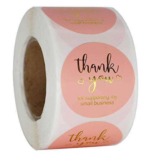 """NSWDYLO Thank You Stickers Roll of 500pcs 1"""" Pink Thank You Seal Stickers Perfect for Business and Boutique Packages Envelope Seals Thanksgiving Holiday Gifts Wedding Party Giveaways Thank You Labels"""