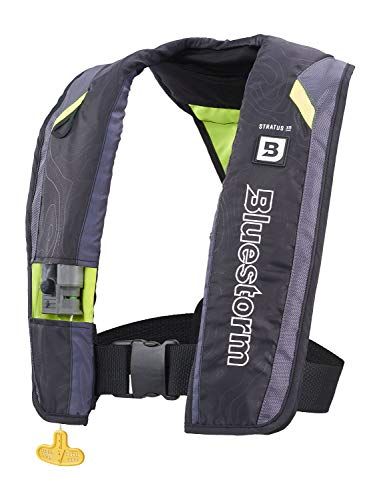 Bluestorm Gear Stratus 35 Inflatable PFD Life Jacket (Hi-Vis Green) | US Coast Guard Approved Automatic/Manual Life Vest for Adults