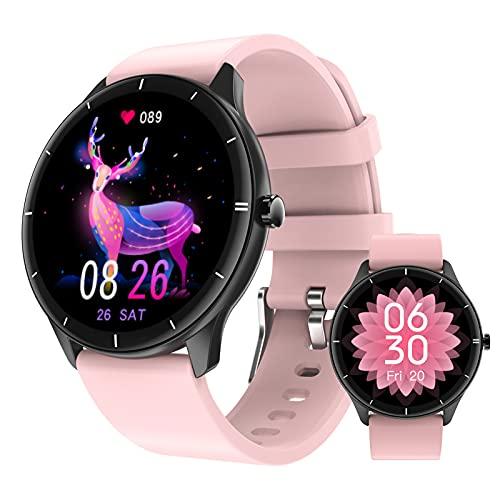 BNMY Smartwatch Mujer 1.28'' Reloj Inteligente IP68 Impermeable, Pulsera Pantalla Táctil Completa con Monitor Sueño Contador De Caloría Pulsómetros Podómetro para Smart Watch Android Y iOS,Rosado