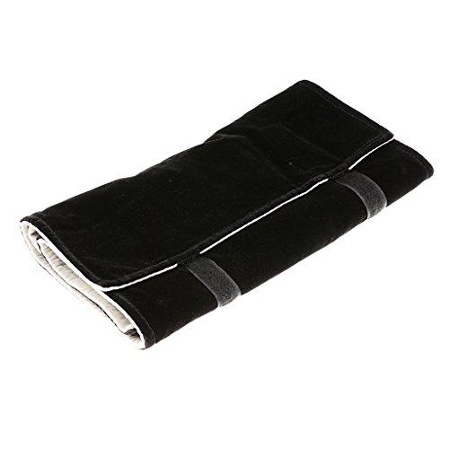 Rollo de Bolsa de Viaje Almacenamiento Franela de Exhibición Collar Portátil Color Negro Fuera