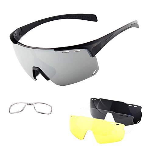 Gafas De Sol Deportivas Polarizadas, Gafas De Ciclismo De Protección UV 400 con 4 Lentes Reemplazables, 2021 Nuevos Gafas De Diseño para Montaña, Híbrido, Raza E