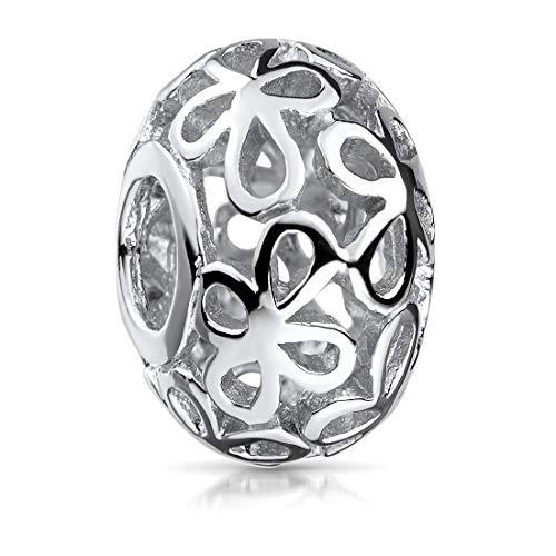 MATERIA Charms Anhänger Blumen 925 Silber - Damen Silberperle platiniert für European Beads Armband 246