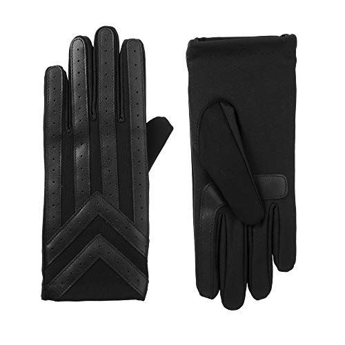isotoner Men's Spandex Touchscreen Cold Weather Gloves with Warm Fleece Lining and Chevron Details, Black, Large