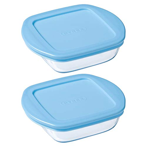 Pyrex Microwave Safe Classic Square Glass Dish Plastic Lid 0.35 Litre Blue (Pack of 2)