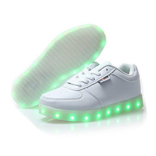 DoGeek Zapatos Led Negras Blanco 7 Color USB Carga LED Zapatillas Luces Luminosos Zapatillas Led Deportivos para Hombres Mujeres (Elegir 1 tamaño más Grande)