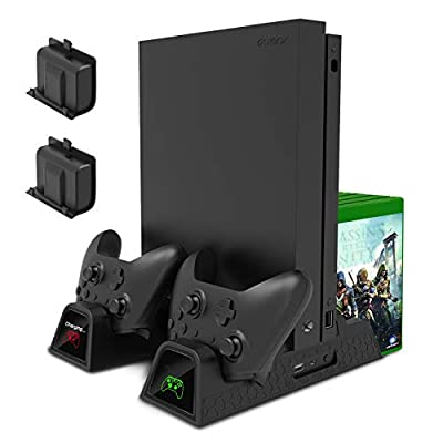 Charging Stand for Xbox One/Xbox One S/Xbox One X Console and Controllers, Vertical Cooling Stand Accessories with 2 Cooling Fans,600 mAh Batteries 2 Pack,LED Indicators and Games Storage by MENEEA