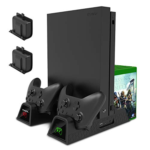 Cooling Stand for Xbox One/Xbox One S/Xbox One X Console and Controllers, Vertical Charging Stand Accessories with 2 Cooling Fans,600 mAh Batteries ,LED Indicators and Games Storage