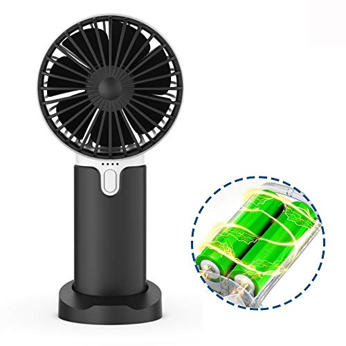 Lidasen Mini Handheld Portable Fan, USB Fan Rechargeable Battery 2400 mAh, Desk Table Fan Cooling Electric Fan 3 Speeds for Home Travel Office Sport Outdoor School (Black)