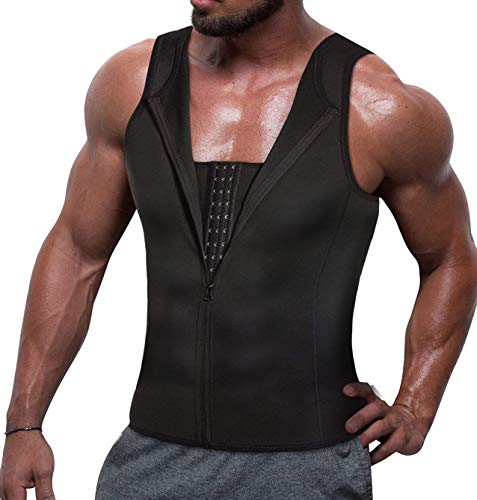 TAILONG Men Compression Shirt for Body Slimming Tank Top Shaper Tight Undershirt Tummy Control Girdle (S, Black)