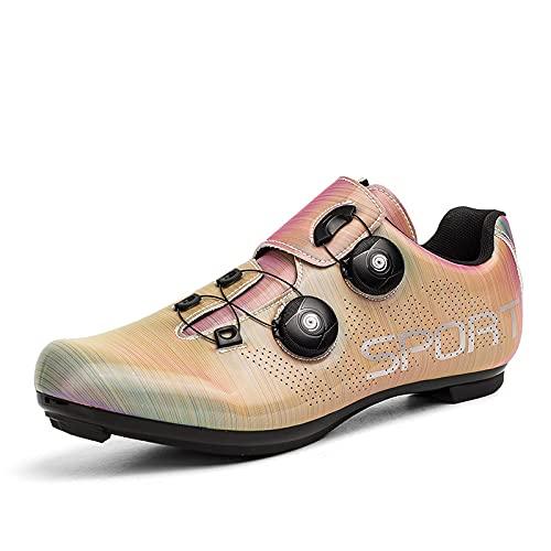 KUXUAN Zapatillas de Ciclismo para Mujer Cordón de Zapatos con Tacos Compatibles Peloton con SPD y Zapatillas de Bicicleta con Pedal Delta Lock,Pink-3.5UK=(230mm)=36EU