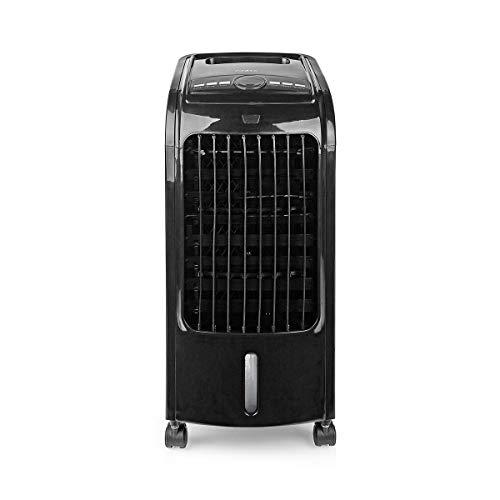 NEDIS Refrigerador de Aire portátil Refrigerador de Aire - 3 L - 270 m³/h - Oscilación Automática - Temporizador - Mando a Distancia - Incluye 2 Bloques de Hielo - Ligero - Blanco Negro 1.50 m