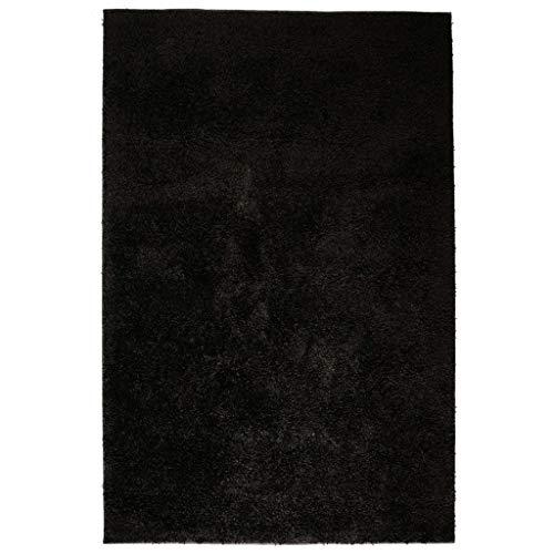 Tidyard Alfombra Shaggy Artificial Alfombra Elegante Peluda 160x230 cm Negra