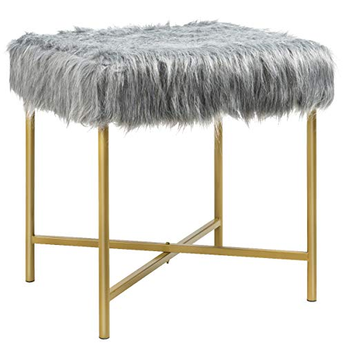 Giantex Ottoman Footrest W/Padded,Luxurious Faux Fur Covered Seat and Gold Metal Base for Living Room, Bedroom Square Stool (Gray)