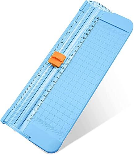 MOPOIN Tragbarer Papierschneider, Papierschneidemaschine A4 Mini Papierschneider mit Sicherheitsmaßnahme zum Standard Schneiden für Scrapbooking und Karten Basteln