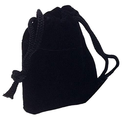 Ogquaton - Bolsa con cordón para guardar joyas, accesorios pequeños de color sólido, con 5 cordones (negro)