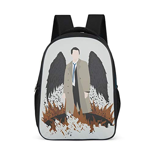 Unisex Kinder Schultaschen Supernatural Castiel Engel Kinderrucksack Rucksack Leicht Backpack Daypacks für Kinder Junge und Mädchens 3-12 Bright Gray OneSize