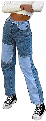 HINANFOH Calça jeans feminina esportiva, casual, color block, calça de rua baggy hip hop streetwear feminina Jeans-Blau_G G
