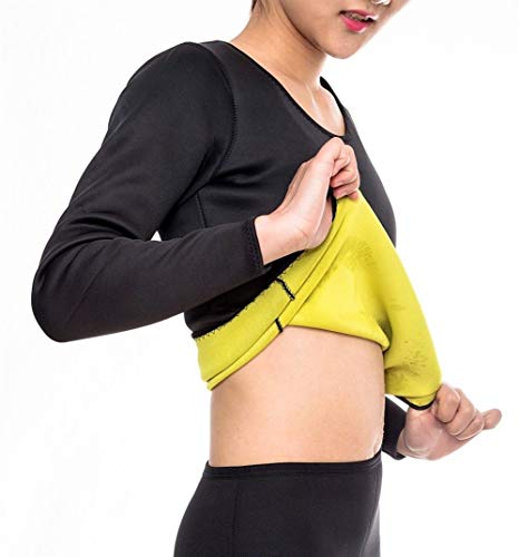 Mujeres que adelgaza la talladora larga de la camisa de Thermo caliente Shapewear- Ejercicio y Entrenamiento Sauna traje- abdominal amaestrador superior del cuerpo quemador de grasa for bajar de peso