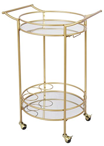 Bar Cart with 2 Mirror Shelves, Durable Wine Cart with Casters, Suitable for Kitchen, Club, Living Room, Antique Gold Finish, 22