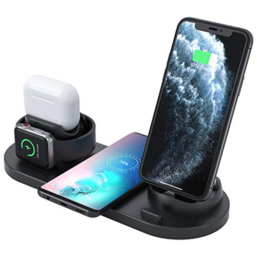 Coralhouse Wireless Charger,6 in 1 Charger Stand Copatible with iPhone/Android/Type-C with USB Port for Apple Watch, Fast Wireless Charging Dock Station for AirPods/iPhone/Samsung/Huawei/LG/HTC