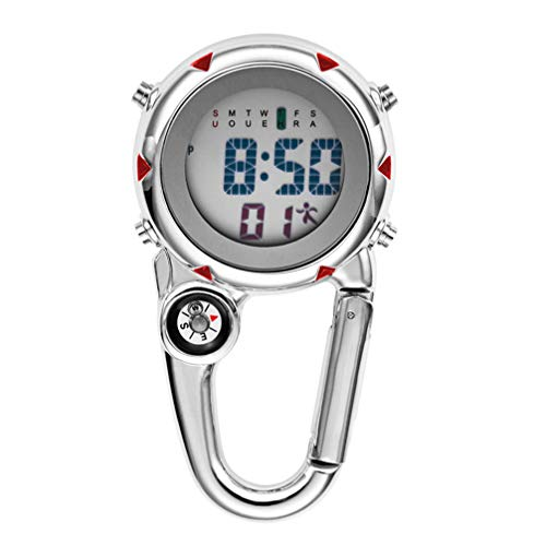 VOSAREA - Reloj digital deportivo con mosquetón, para pesca, senderismo, escalada, mini reloj de bolsillo con brújula, camping, actividades al aire libre, médicos, enfermeras, naranja, color rojo