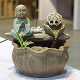 Estatuas Fuente de Mesa, Fuente de Interior Escultura Decorativa para Fuente Zen de Mesa Humidificador de Fuente de Agua Decoración de Mesa de Agua -Pequeño Monje meditando 9.1pulgada