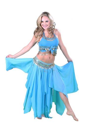 Miss Belly Dance Tanzen Kostüm-Set   Skirt-top Gürtel und Münze   Revelry, Turquoise/Silver, M