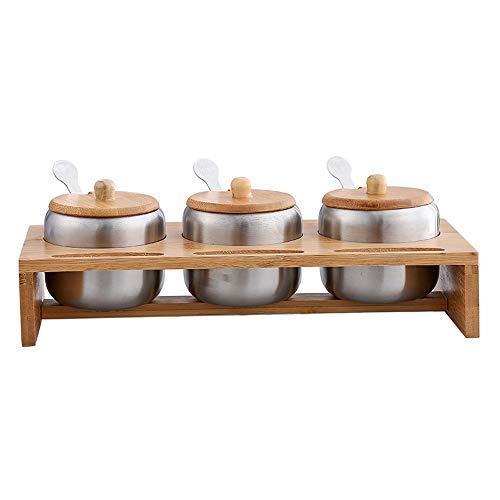 SMEJS Edelstahl-Gewürzglas-Kombinationsset mit DREI Geschmacksrichtungen, Haushaltszubehör aus Bambus und Holzrahmen, Salz- und Zuckerschalen